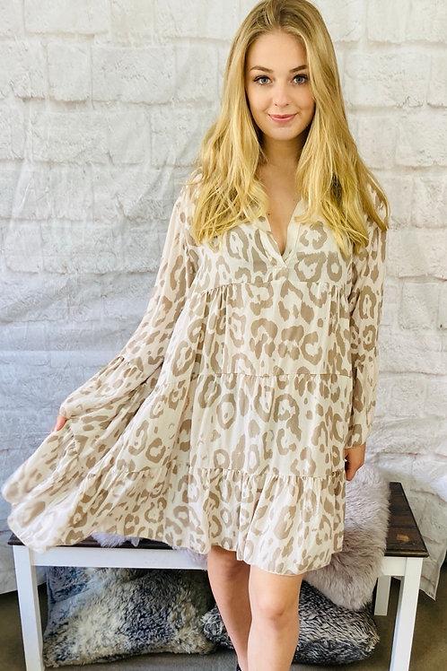 Flare Smock Dress in Beige Leopard Print