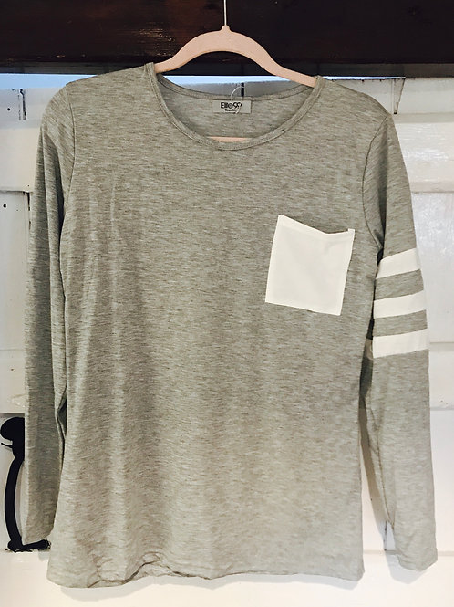 Grey Top with White Stripe Detail