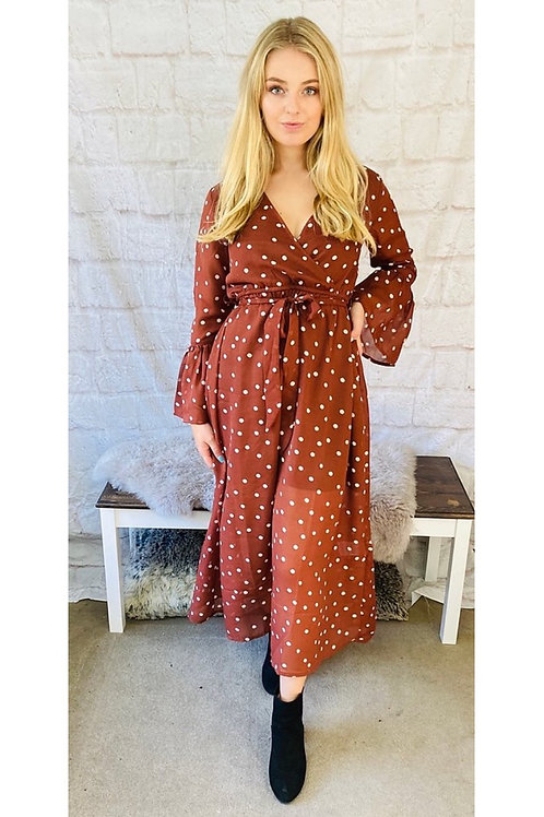 Polka Dot Maxi Dress in Rust