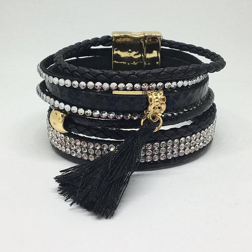 Black tassel wrap bracelet