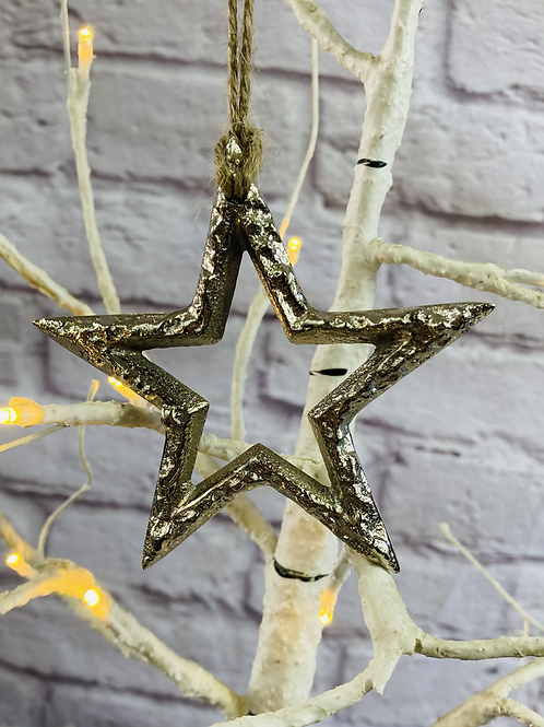Hanging Silver Metal Star - 10cm