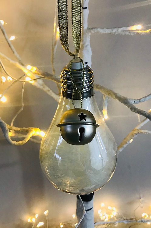 Jingling Bell Lightbulb Feather Bauble