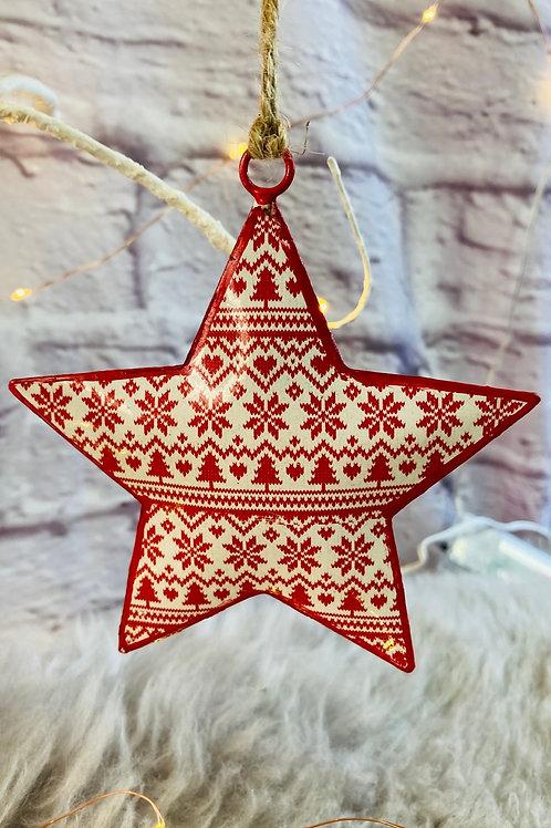 Nordic snowflake & tree pattern metal star