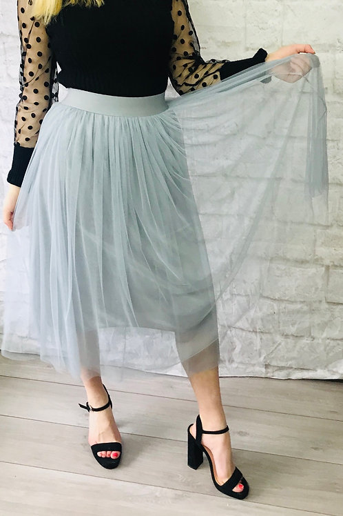 Grey Layer Tulle Skirt