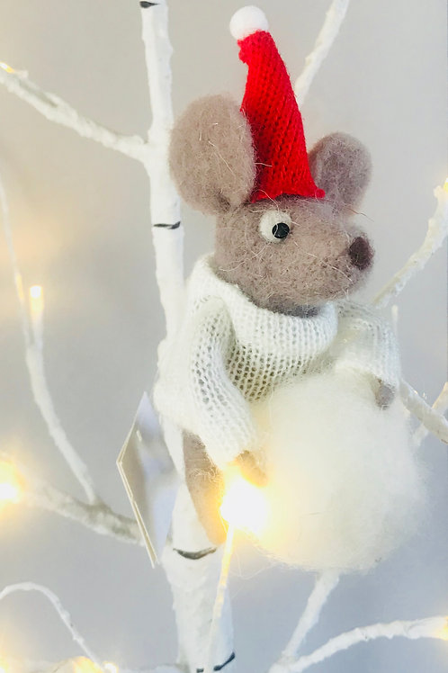 """Mac"" Felt Mouse in Woolly Jumper"