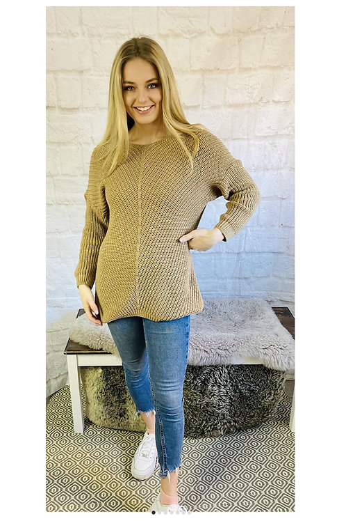Oversized Knitted Jumper in Tan
