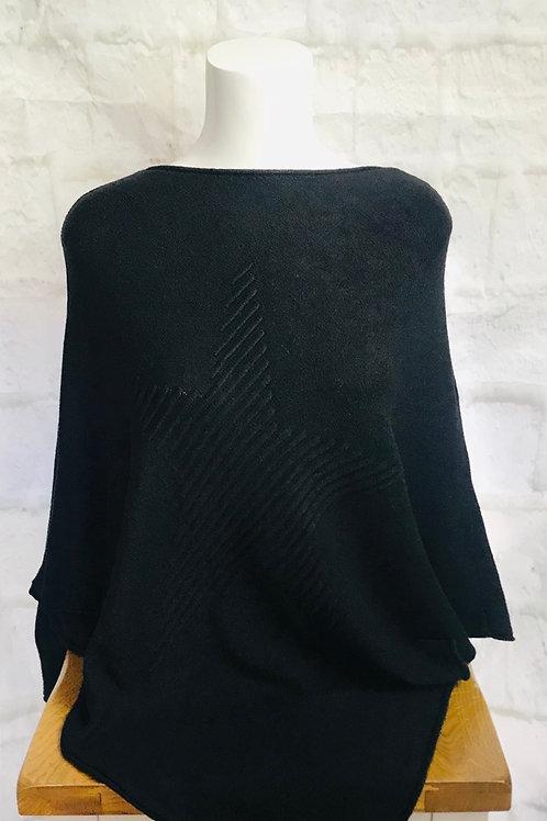 Star Poncho in Black