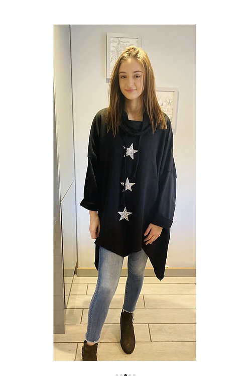 Sparkling Stars Swearshirt in Black