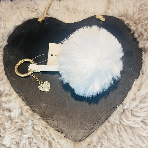 Fluffy White Pom Pom Key Ring/Bag Charm