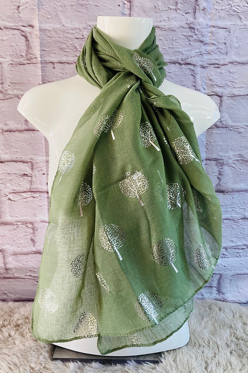 Silver Tree Print Scarf in Green