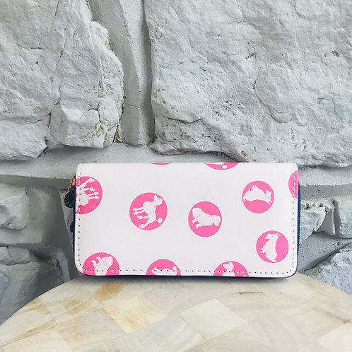 Pink Dog Print Long Purse/Wallet