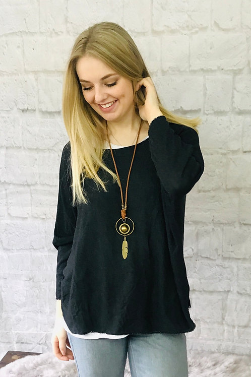 Charcoal Layered Top with Necklace