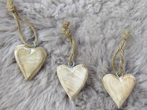 Set of Three Hanging Wooden Hearts