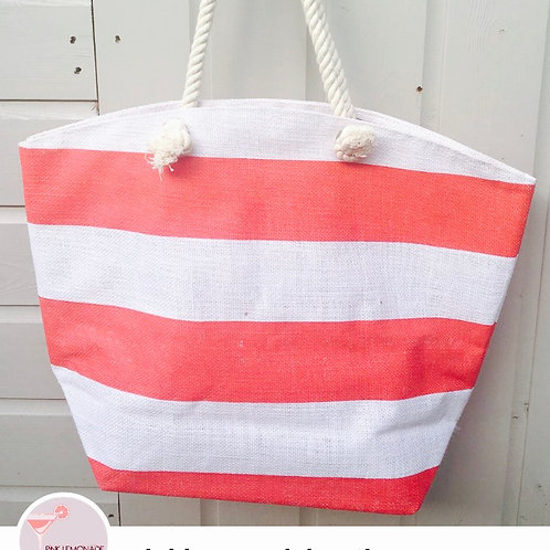 Red/White Stripe Beach Bag