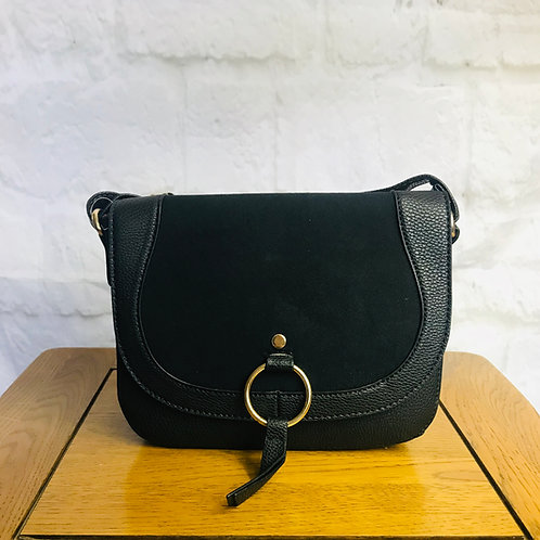 Black Saddle Bag with Ring Detail