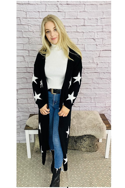 Long Knitted Star Print Cardigan in Black