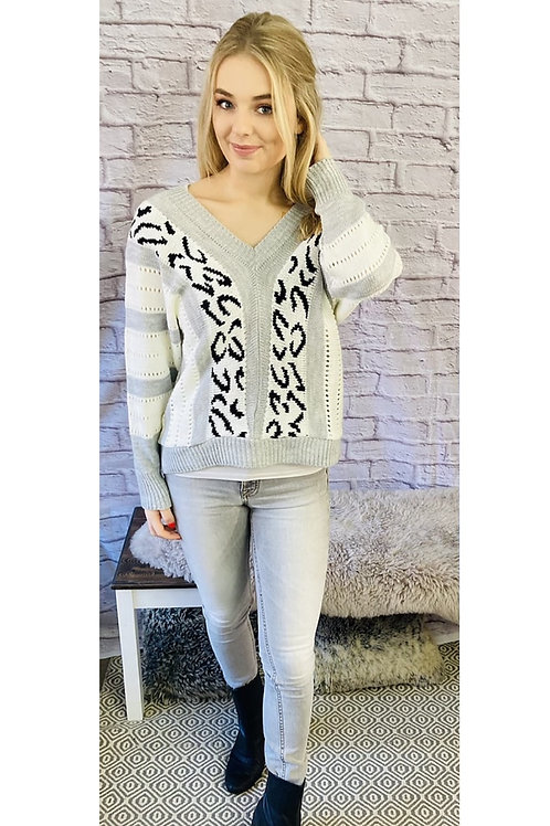 Leopard Chevron Knitted Jumper