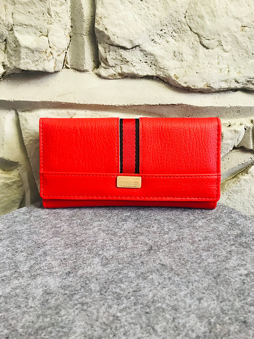 Red Stripe Wallet in Red