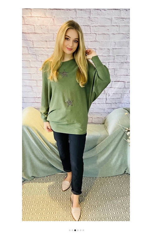 Sparkle Star Jumper in Khaki