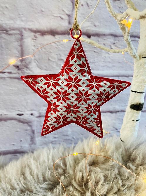 Nordic Snowflake Pattern Metal Star