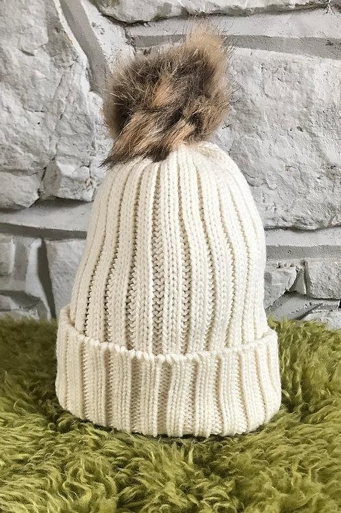 Cream Faux Fur Pom Pom Hat