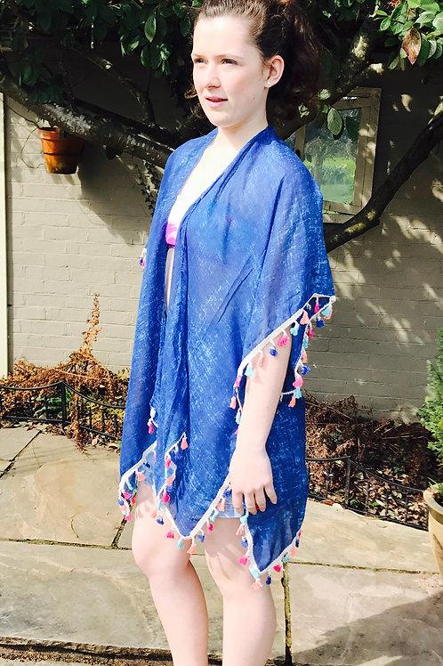 Sea Blue Tasseled Summer Wrap