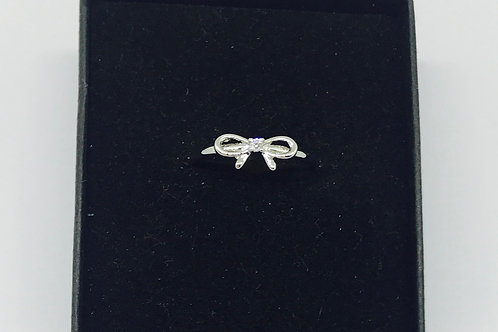 Delicate Tied Bow Ring - Silver
