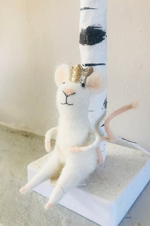 """""""Meredith"""" Felt Mouse with Crown"""