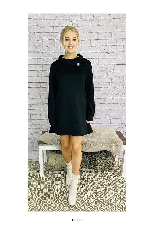 Button Detail Sweatshirt Jumper Dress