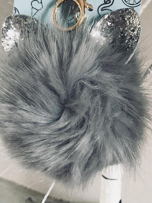 Grey Fluffy Cat Pom Pom