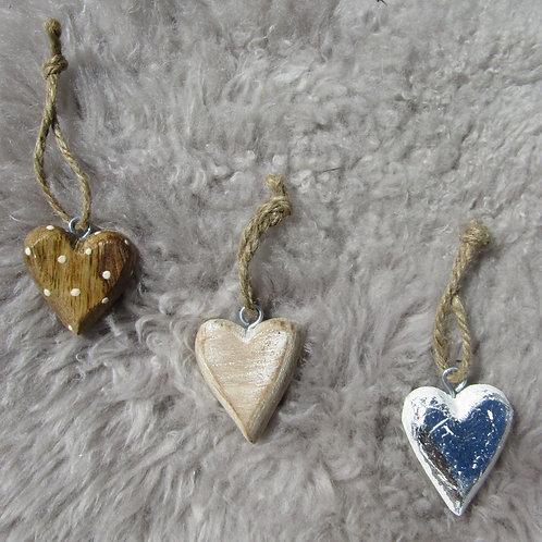 Set of Three Mixed Wooden Hearts