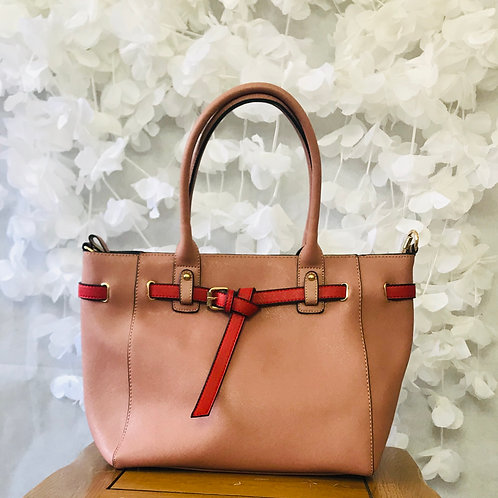 Nude Tote with Red Buckle