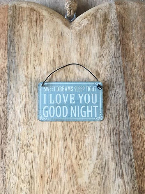 Love you goodnight mini sign
