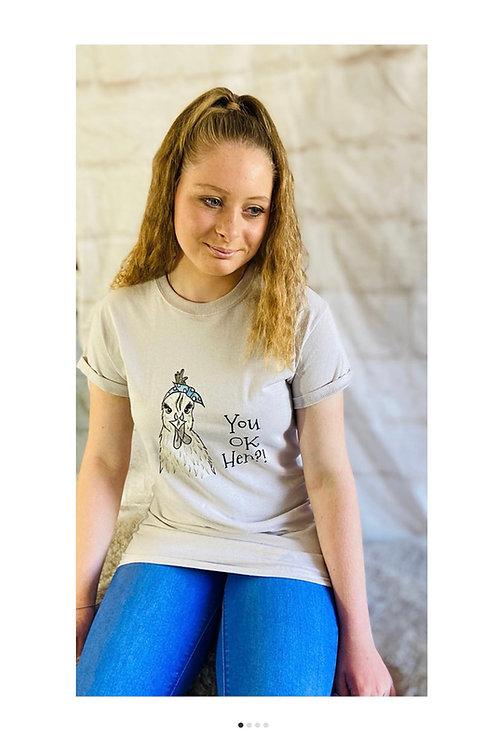 'You OK Hen?!' Chi Chi Chicken T-Shirt in Light Beige