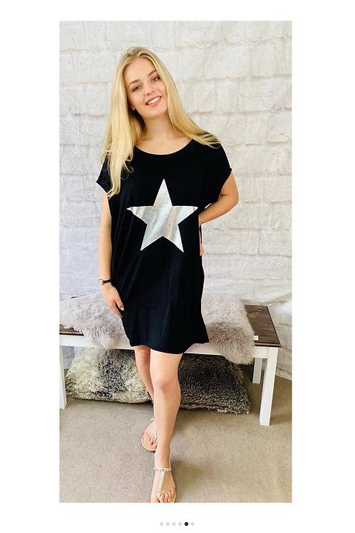 Oversized Metallic Star Top in Black