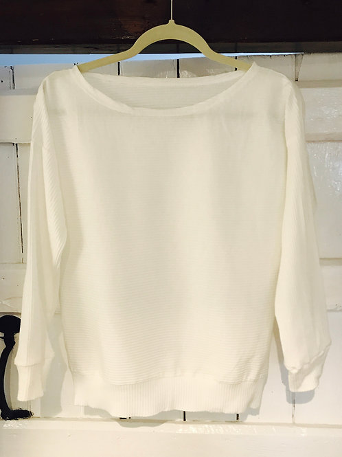 Casual White Ribbed Detail Top