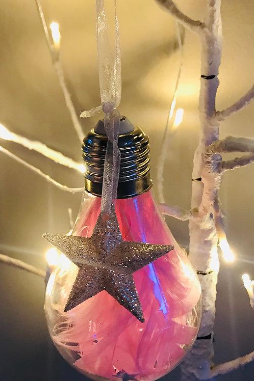 Pink Glittering Star Lightbulb Bauble