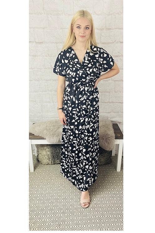 Black & White Pattern Satin Maxi Dress