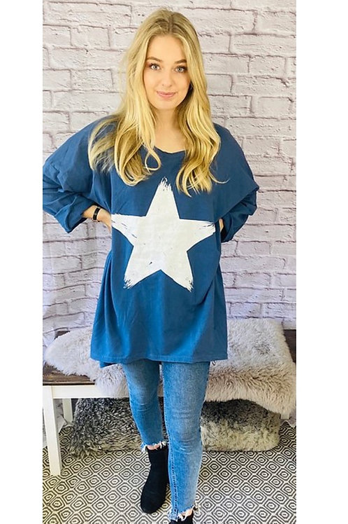 Star Oversized Top in Blue