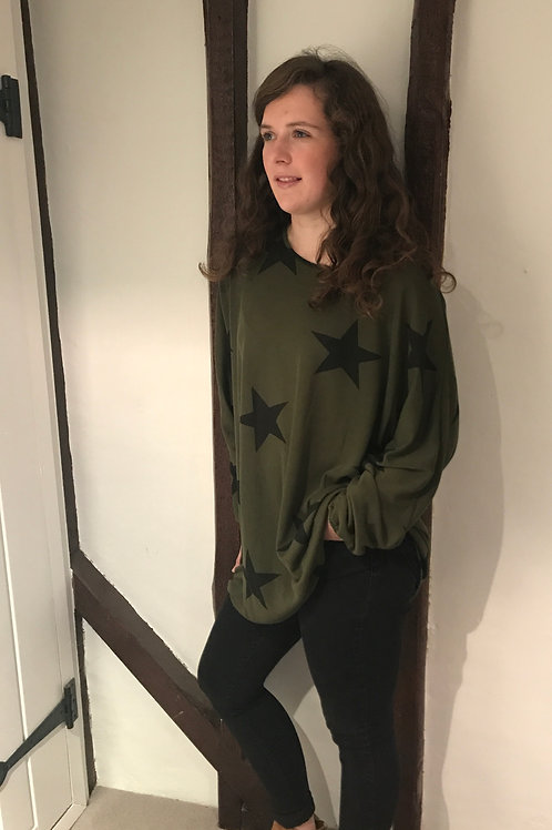 Khaki Sloppy Joe Star Jumper/Jumper Dress