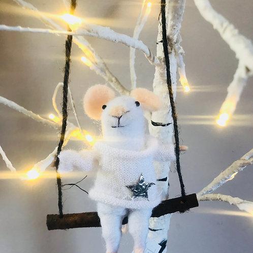 """Mika"" - Felt Mouse on a Swing"