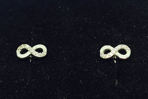 Diamante Infinity Earrings - Silver