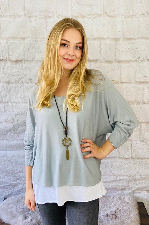 Light Grey Layered Top with Necklace