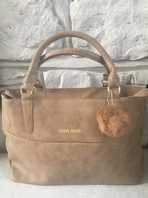 Suede Style Tan Tote with Pom Pom