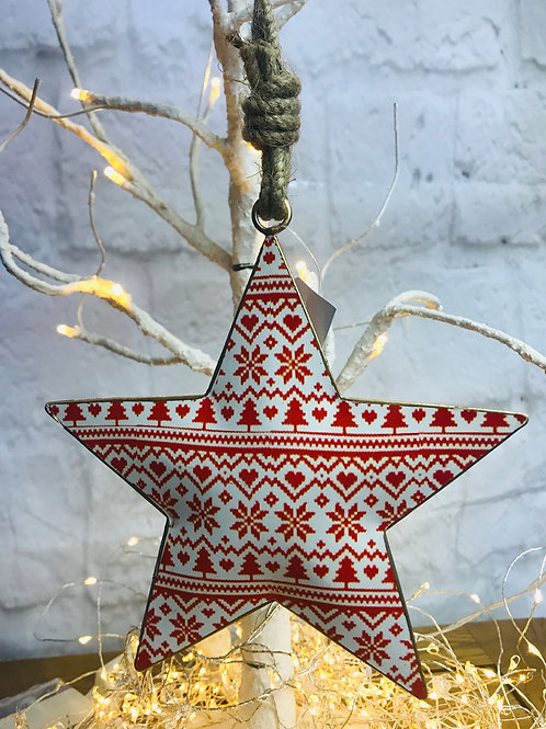 Christmas Tree Pattern Metal Star