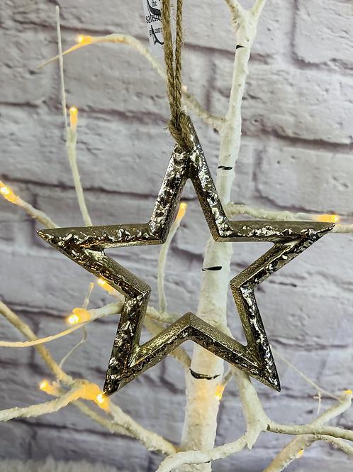 Hanging Silver Metal Star - 12cm