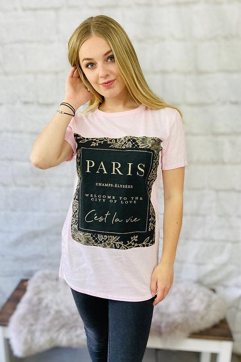 Pink 'Paris' Slogan Tee