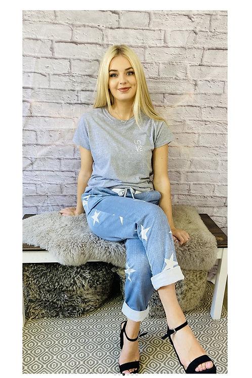 Star Print Cropped Capri Trousers