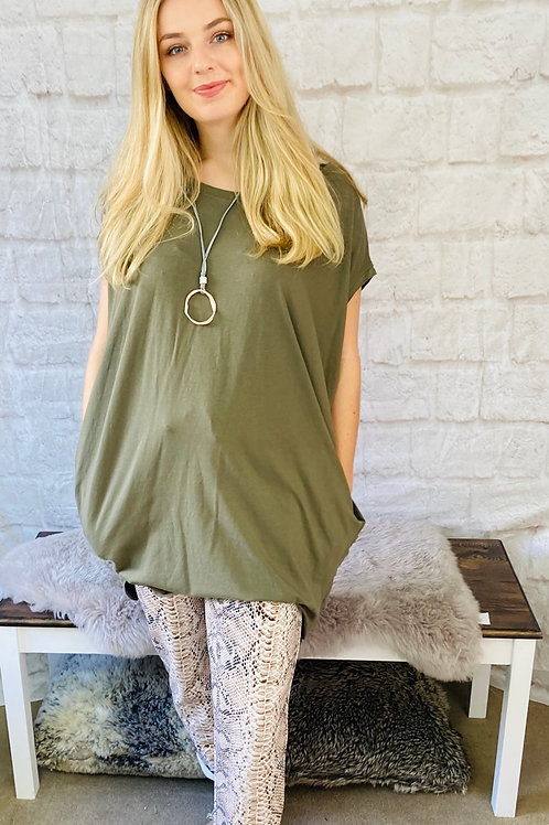 Oversized Top with Statement Necklace in Khaki