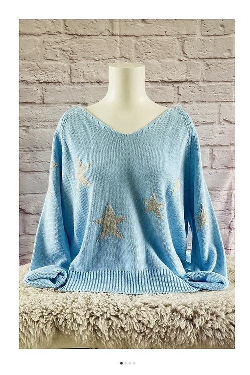 V Neck Knitted Star Jumper in Blue